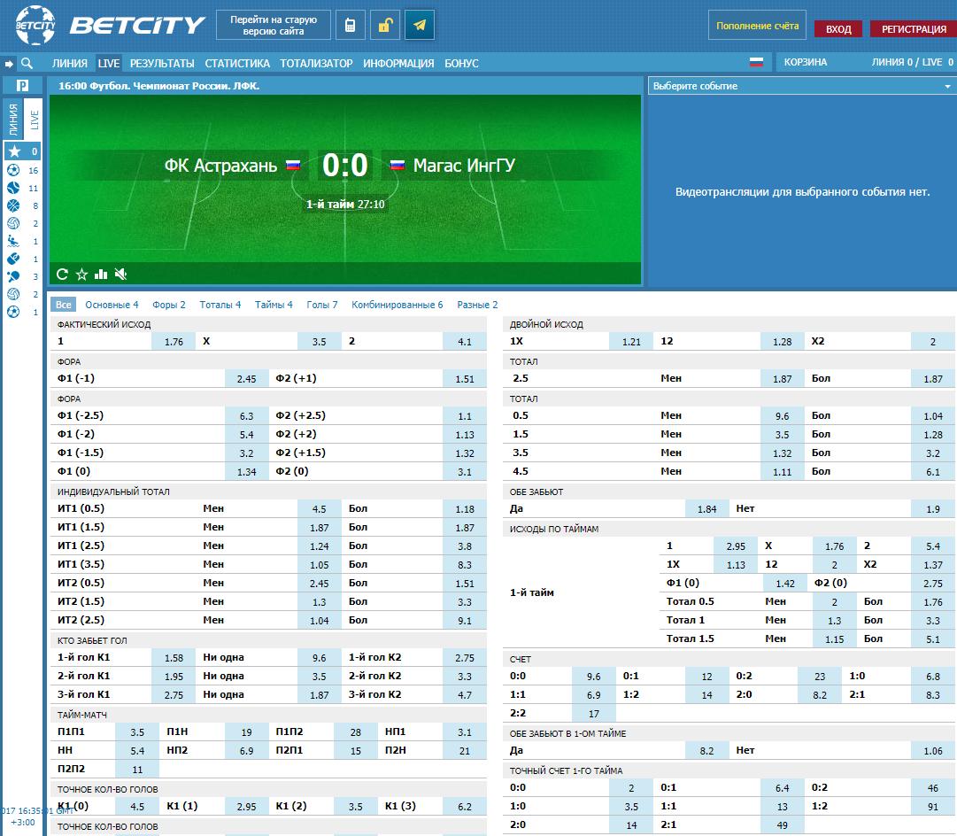 БК Betcity: выбираем событие для ставки