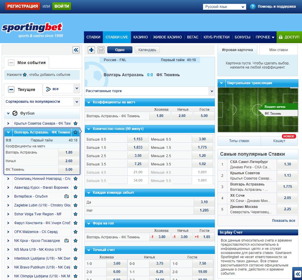 БК Sportingbet: линия, роспись, коэффициенты